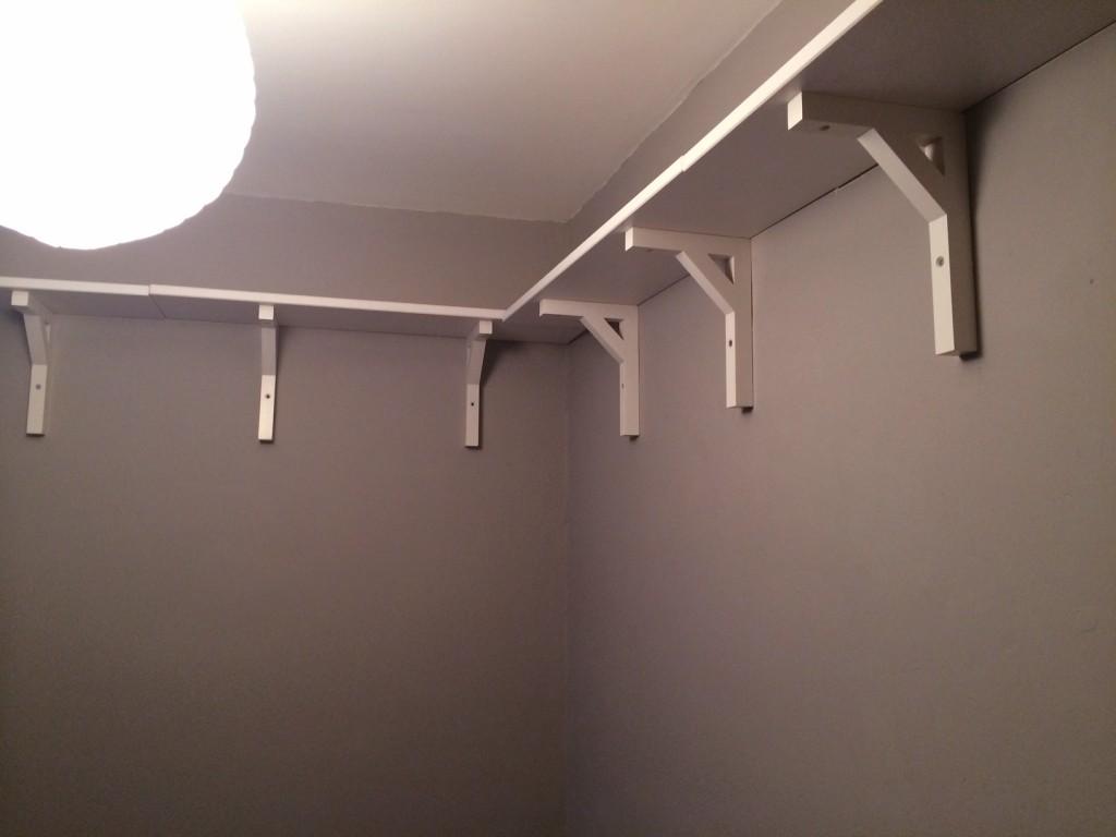 Slightly wonky shelves on very wonky walls