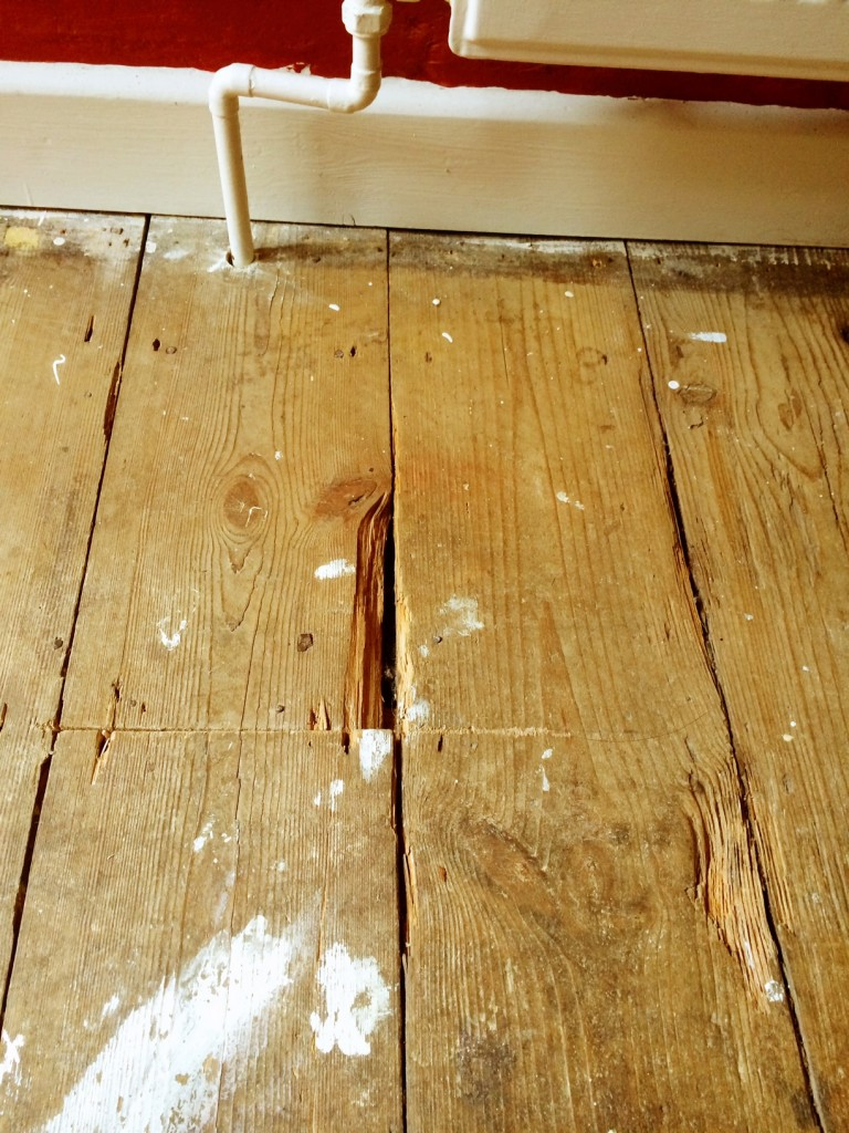 Floorboards with damaged edges