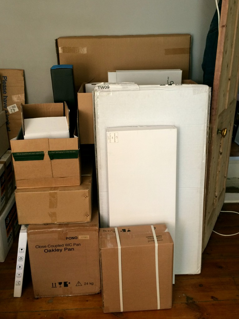 boxes of sanitary ware and fittings