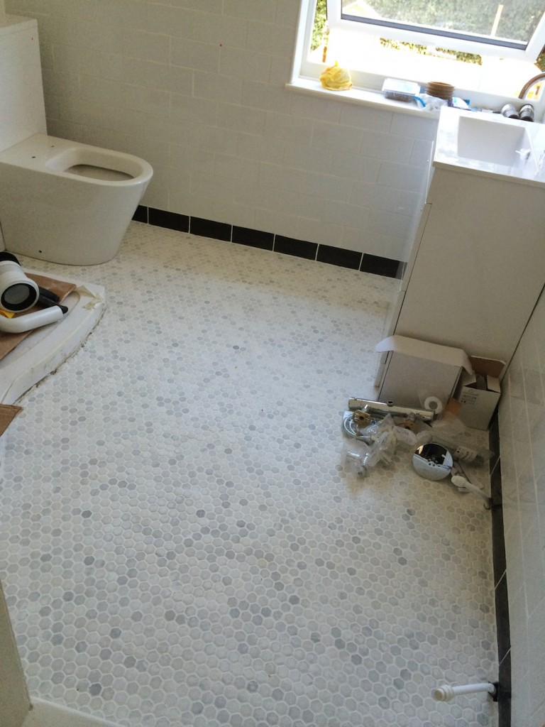 Look at all that space! I love the floor. Can't wait to see it properly cleaned of grout.