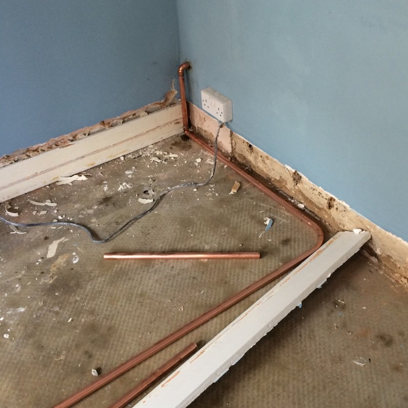 concrete floor, new pipe, cable routing
